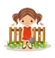 cute girl with a watering can vector image vector image