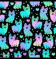 cute holographic corgi dogs seamless vector image
