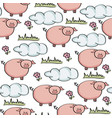 doodle seamless pattern with pigs vector image