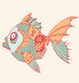 fish with mechanical parts body hand drawn vector image