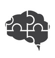 flat black brain icon vector image vector image