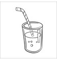 glass of juice cartoon - line drawn vector image