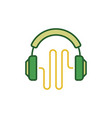 green headphones with sound wave creative vector image vector image
