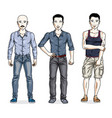 handsome men posing wearing casual clothes vector image vector image