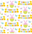 happy easter pattern with bunnies and chicks vector image