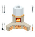 isometric fireplace brick stone isolated on vector image vector image