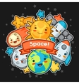 Kawaii space card Doodles with pretty facial vector image vector image