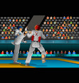 men competing in a taekwondo competition vector image vector image