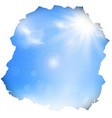 paper hole with blue sky and sun vector image vector image