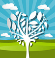 Paper Tree on Field Nature Background vector image
