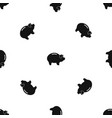 Piggy pattern seamless black vector image