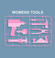 Pink tools Set for women plastic model kits for vector image