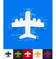 plane paper sticker with hand drawn elements vector image