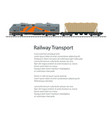 poster locomotive with hopper car vector image vector image