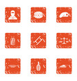 risk icons set grunge style vector image vector image