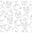 seamless pattern with cute cartoon contour pigs vector image vector image