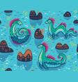 Seamless pattern with cute loch ness vector image