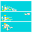 set banners airport terminal and airplane vector image vector image