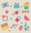 set holiday stickers for valentines day vector image