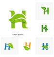 set of letter h with leaf logo design concept vector image