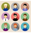 Set of round flat icons with men vector image