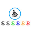 smoking garage factory rounded icon vector image