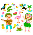 tropical cartoon set vector image