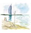 Watercolor people on beach over sailboat on water vector image