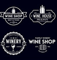 wine winery logo or icon emblem label for menu vector image vector image