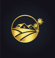 home palm tree icon gold logo vector image