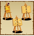 Three easel with text and drawings vector image