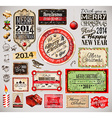Christmas 2014 Vintage labels and typo collection vector image