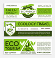 green travel and ecotourism banner template design vector image