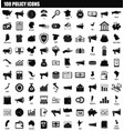 100 policy icon set simple style vector image