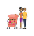 african father mother baby twins double pink vector image