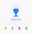 award trophy win prize first 5 color glyph web vector image