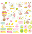 bagirl kangaroo scrapbook set vector image