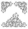 baroque leaf frame swirl decorative design element vector image