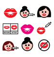 Big red lips lip augmentation icons - beauty vector image