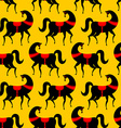 Black Horse Gorodets painting seamless pattern vector image