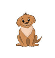 brown puppy in cartoon style vector image vector image