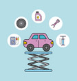 car service repair maintenance equipment support vector image