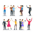 cartoon characters people takes selfie concept vector image vector image