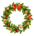 christmas fir wreath vector image vector image