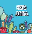 colorful elements of festa junina celebration vector image vector image