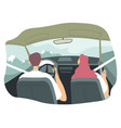 couple driving car vacations nature with mountain vector image