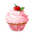 cupcake sweet homemade dessert cherry muffin vector image