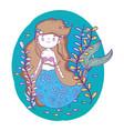 cute mermaid woman underwater with plants vector image vector image