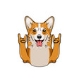 cute welsh corgi with horns vector image vector image