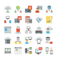 data storage and databases flat icons set vector image vector image